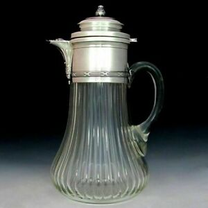 Large-Antique-French-Sterling-Silver-Cut-Glass-Wine-Claret-Jug-Decanter-Pitcher