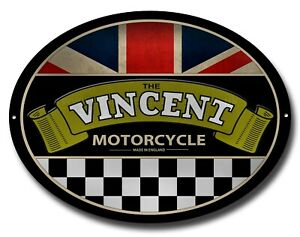 "VINCENT MOTORCYCLES OVAL METAL SIGN.15"" X 11"" CLASSIC BRITISH MOTORCYCLES"