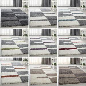 Shaggy-Hochflor-Kariert-Designer-Guenstige-Teppiche-versc-Farben-und-Groessen