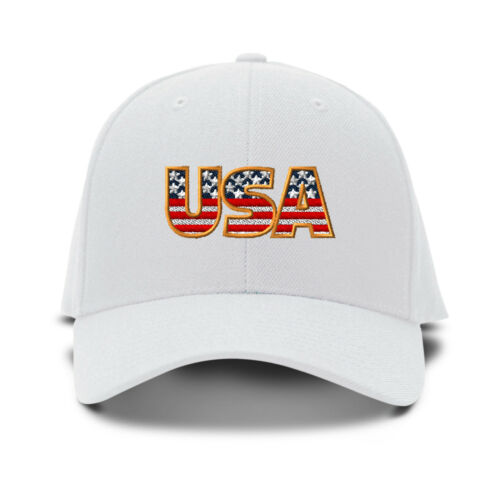 Usa American Flag Embroidery Embroidered Adjustable Hat Baseball Cap