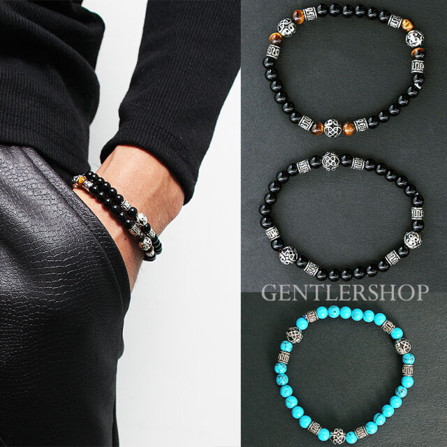 Mens Fashion Black Brown Beaded 3D Steel Beads Bracelet - 41, GENTLERSHOP
