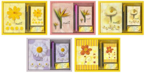 Geschenkset Notizbuch Adressbuch Tintenroller Geschenk Set Mitbringsel Blumen