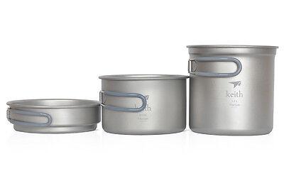400+800+1200ml Titanium Pot Outdoor Cookware Camping Pot Only 288g KP6014