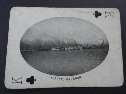 Vtg Antique Real Photograph TORONTO HARBOUR Canada Playing Card c1905 Royalty
