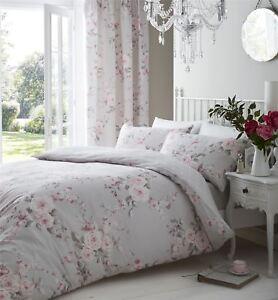Gris-Rose-Floral-Double-Melange-de-coton-couette-reversible-Housse-confortable