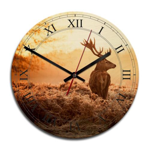 Majestätischer Hirsch Wanddeko Trenddeko Kunstdruck Uhr modern Holz-Wanduhr