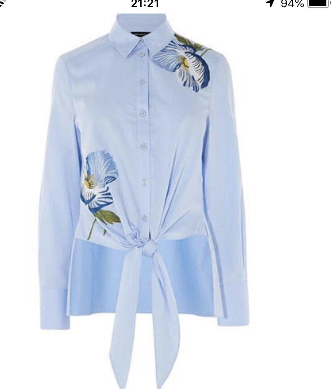 Karen Millen Bird Embroiderot Tie Hem Shirt, Weiß Größe 8