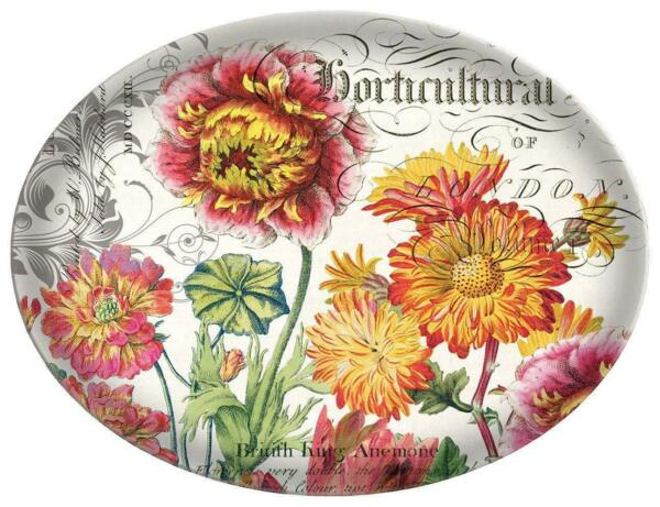 """""""blooms And Bees"""" Oval Glass Soap Dish W/colorful Flowers Michel Design Works"""
