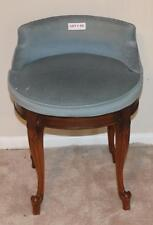 """Lot #45 Vintage Wood VANITY Chair Stool Low Back CUSHIONED SWIVEL Seat 24"""" Tall"""