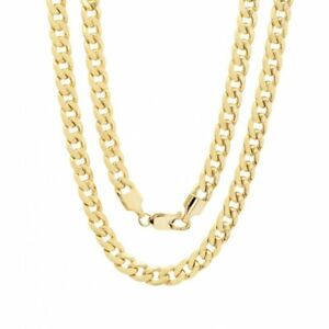 10K-Solid-Yellow-Gold-Cuban-Link-Chain-Necklace-16-034-30-034-Men-039-s-Women-1-5mm