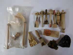 F410 lotto 15 miniature messicane legno oggetti da cucina Oggetti vintage per casa