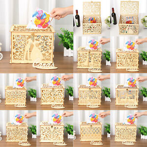 Details About Diy Wedding Gift Card Box Wooden Hollow Money Box With Lock Wedding Party Decor