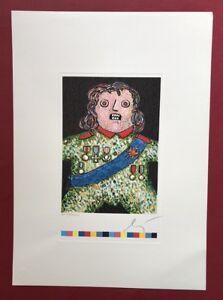 Enrico-Baj-Der-kleine-General-Lithographie-Praegung-handsigniert