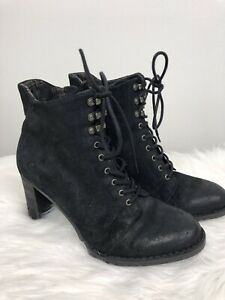 Born-size-10-Women-s-Boots-block-heel-Suede-Leather-lace-up-zipper-black-Flaw