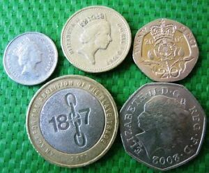 Circulated-Coins-from-England-British-Pounds-and-Pences