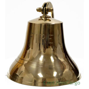 "Solid Brass FIRE Bell 6"" w/ Bracket Nautical Doorbell Hanging Wall Decor New"