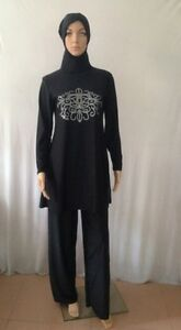 6fdbc1ceb2 Muslim Full Cover Modest In Black Islamic Swimsuit Burkini 2-Piece ...