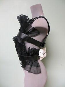 $1450 Noir Kei Ninomiya Harenss Belted Vest Top M Open Back Ruffle Organza Front