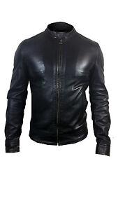 c74d096a3 Details about NEW Mens Designer ALEXANDER CAINE Black Original Lambs Skin  Leather Jacket
