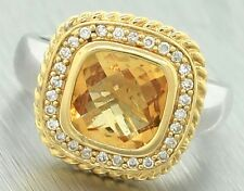 Ladies Vintage Estate 1960s 14K 585 Two Tone Gold Citrine Diamond Cocktail Ring