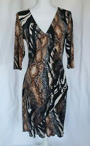 Joseph-Ribkoff-Wide-Robe-Snake-Print-Dress-US-8-Brown-Gray