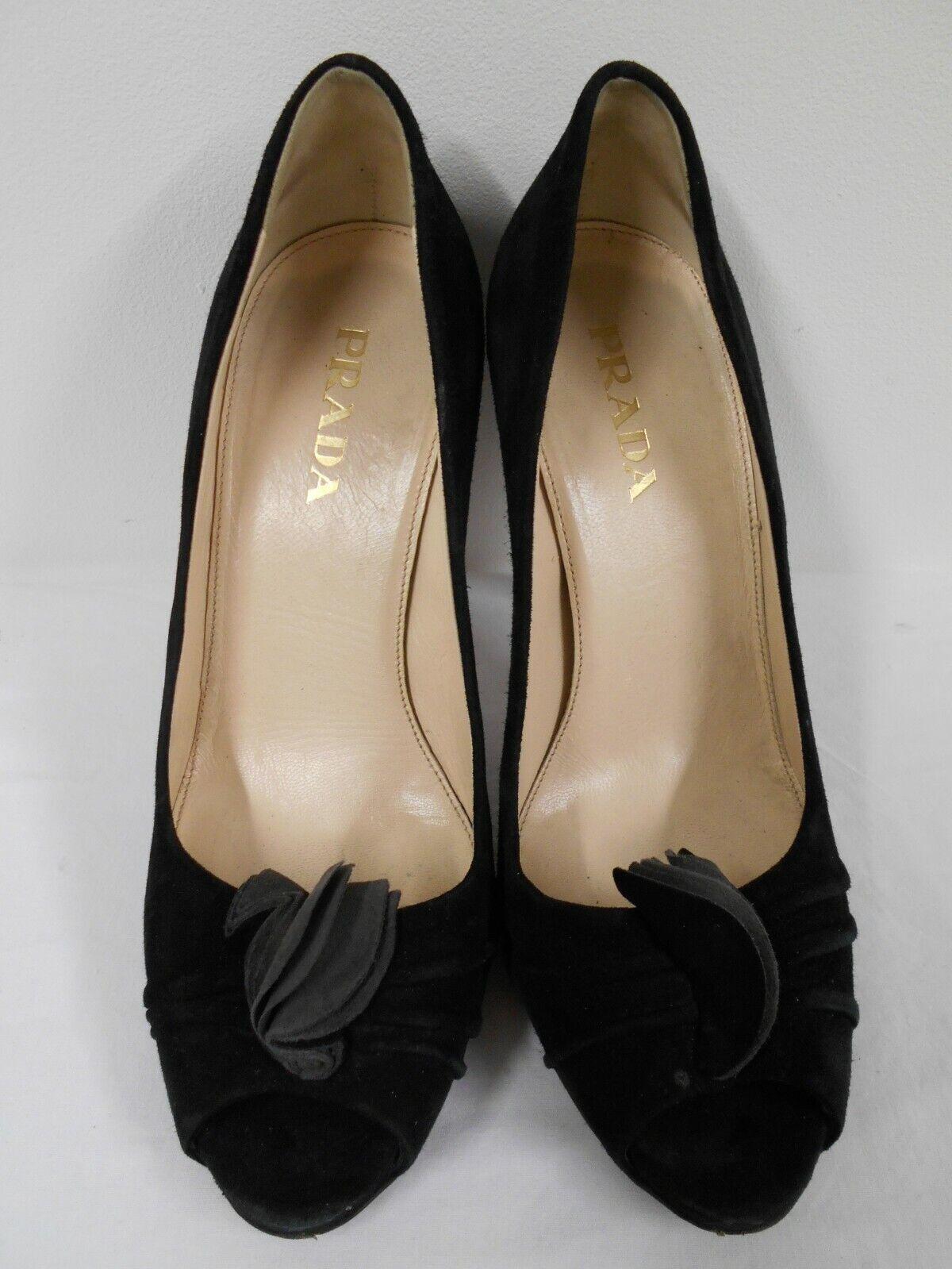 "Beautiful PRADA schwarz suede leather 4"" heel peep toe court, ruffle detail 36 UK3"