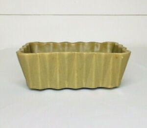 Vintage Ceramic Pottery Planter Olive Green Brown Rectangle*