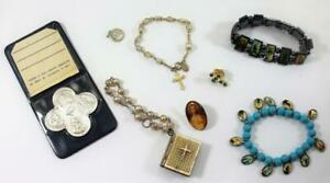 Vintage-Lot-of-8-Catholic-Religious-Items-Bracelets-Pins-Relic-Scapular-Medal