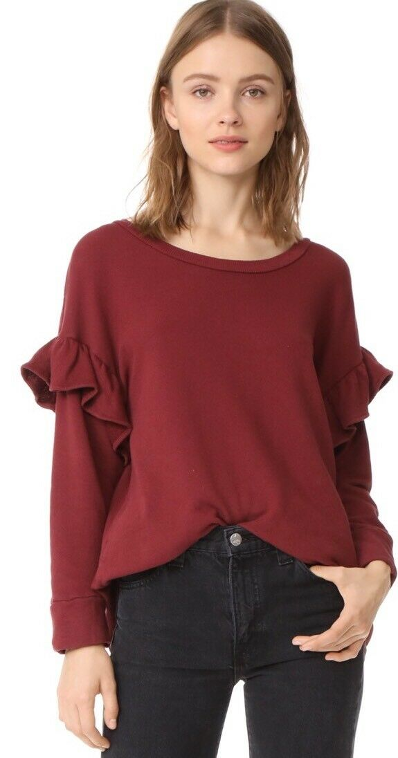 Current Elliot The Ruffle Sweatshirt Cabernet Size 0 NWT