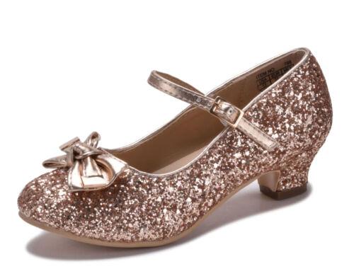 Girls Rose Gold Silver Glitter Dress Shoes Heels Pumps Metallic Wedding Pageant