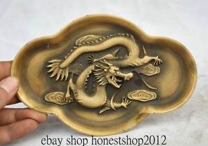 7-4-034-Rare-Old-China-Kupfer-Dynastie-Relief-Zodiac-Dragon-Loong-Teller-Tablett