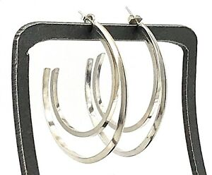 Modernist-Abstract-Double-Hoop-Sterling-Silver-Post-Earrings-Vintage