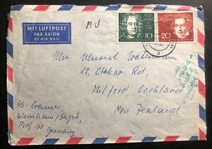 1959 Wenheim Germany Airmail Souvenir Cover To New Zealand Beethoven Sc#804