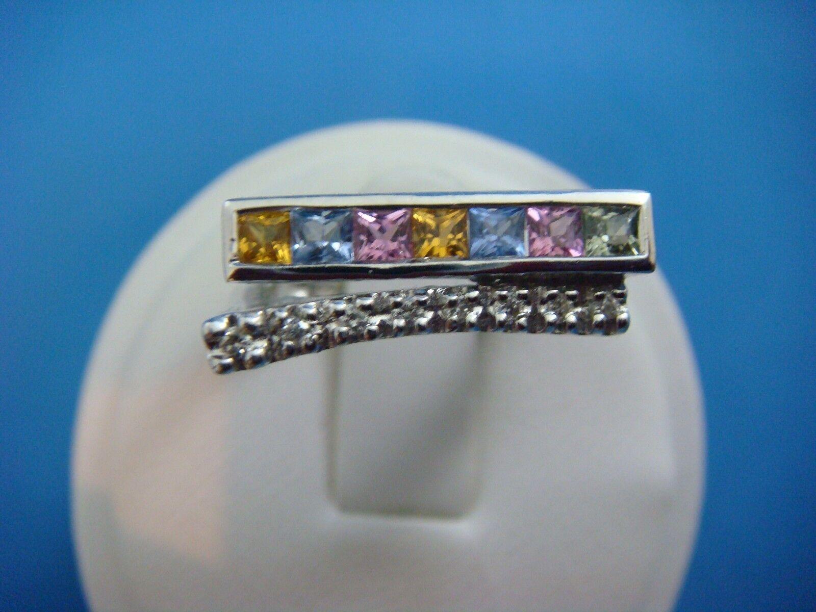 14K WHITE gold DIAMONDS AND MULTI-COLOR SAPPHIRES ORIGINAL DESIGN LADIES RING