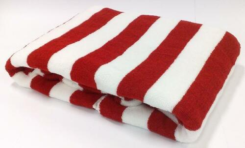 Red Striped Pool Beach Towel 100/% Cotton 75x150cm Large Stripe Bath Towels