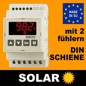 SOLAR Regelung Steuerung Temperaturdifferenzregler Kollektoren +2 sensoren DIN
