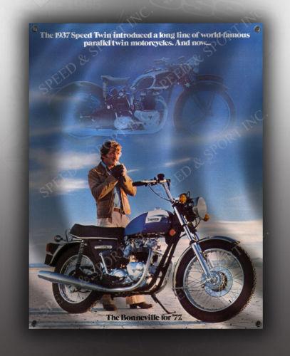 VINTAGE TRIUMPH BONNEVILLE FOR 1977 MOTORCYCLE BANNER