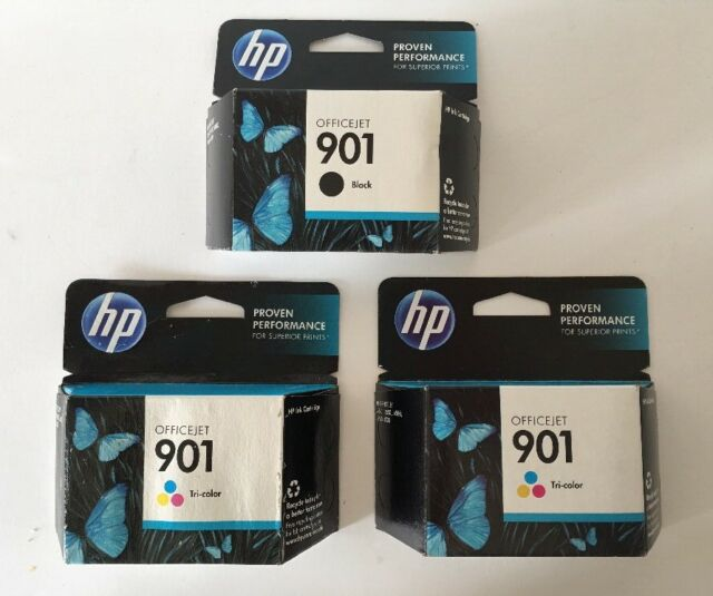 3 Pack New HP 901 Genuine CC656AN Tri-Color/Black Ink