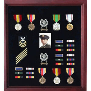 Officers Medal Display Case Plus Photo Shadowbox Military