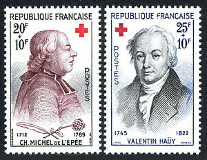 France B337-B338, MNH. Red Cross. Charles Michel de I'Epee, Valentin Hauy, 1959