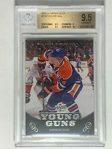 2010-11-Taylor-Hall-Upper-Deck-Young-Guns-219-Rookie-RC-Card-BGS-9-5-GEM-MINT