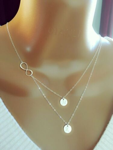 Personalized Necklace Layered Sterling Silver Infinity And Initial Two Discs