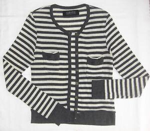 7e80b875 Women's Zara Basic Knit Gray White Striped Cardigan Button Down Long ...