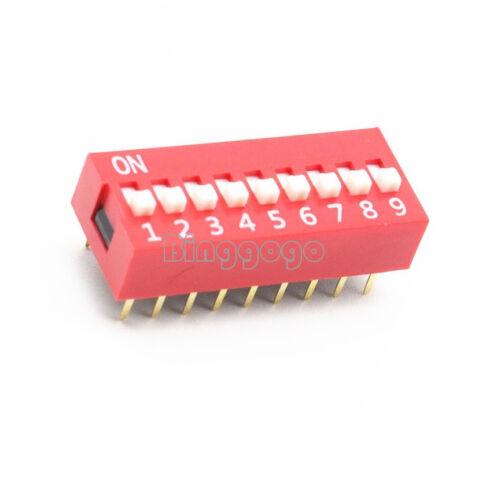 5 PCS Slide Type Switch Module 2.54mm 9-Bit 9 Position Way DIP Red Pitch UK