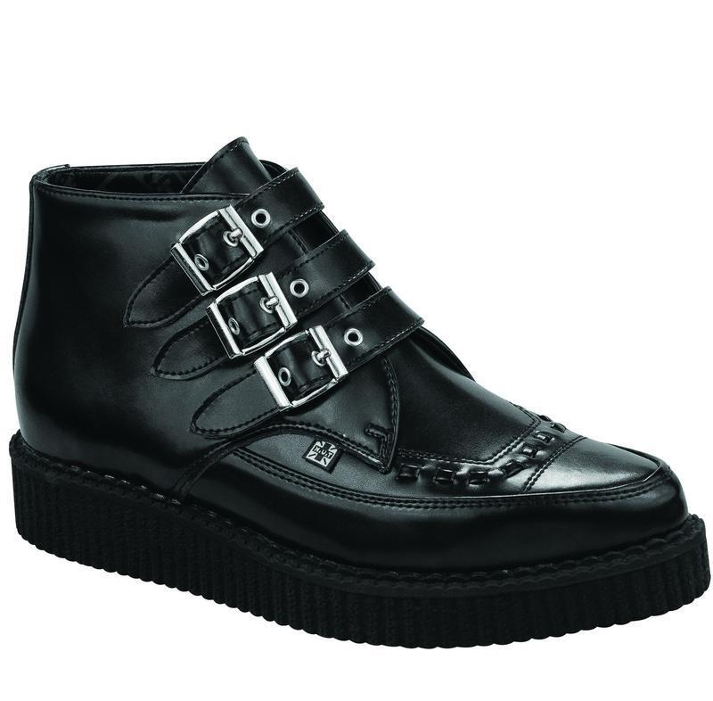 T.U.K A8503 Black Leather 3 Buckle Pointed Creeper Boot