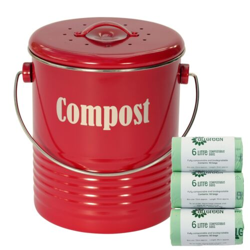Typhoon Red Compost Caddy & 150x 6L Biobags / Kitchen Caddy Bin