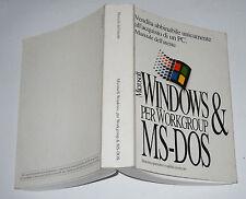 Manuale dell'utente MICROSOFT WINDOWS & MS-DOS 6.22 per Workgroup 1994 Pc Guida