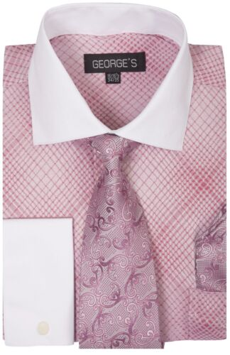 Checks French Cuff Dress Shirt w// Tie and Hanky Set #624 Rose Pink Men/'s Plaid