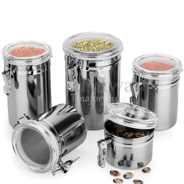 4 Size Stainless Steel Storage Container Coffee Canister Sugar Tea