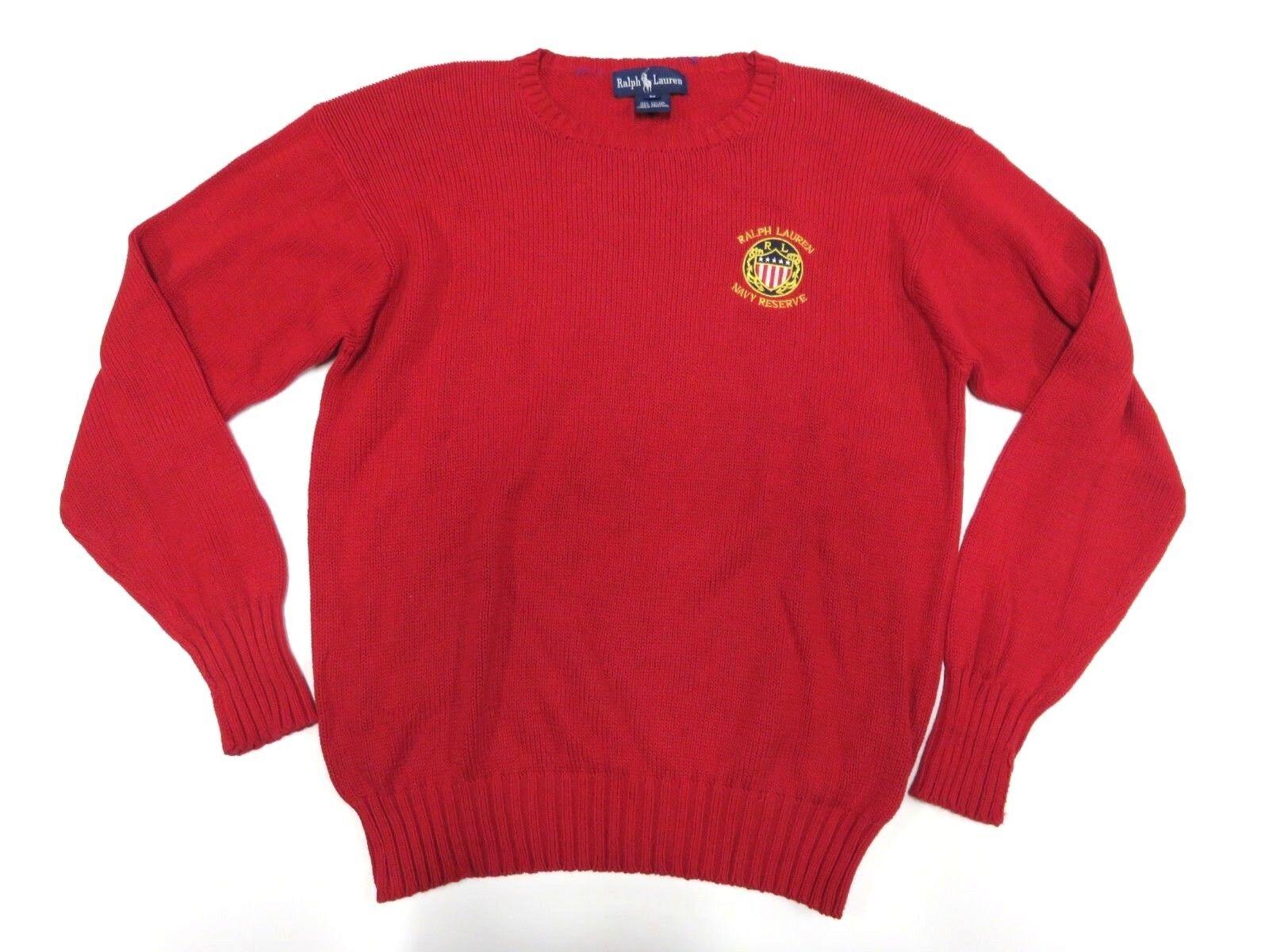 Ralph Lauren Navy Reserve ROT Sweater Adult Größe Medium 100% Cotton